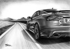 AUDI RS5 - Desen în Creion de Corina Olosutean // AUDI RS5 - Pencil Drawing by Corina Olosutean Audi, Car, Automobile, Autos, Cars