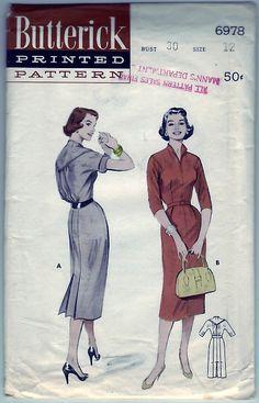 FREE SHIPPING Vintage 1954 Butterick 6978 UNCUT Sewing Pattern Misses Tailored Casual Bloused Yoke Back Drop Yoke Dress Size 12 Bust 30