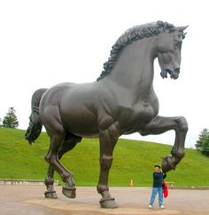 Da Vinci - Leonardo's lost horse in Meijer Gardens - this sculpture is a reproduction of a project unrealized by the Master, whose original clay model was destroyed by troops as target practice before war. A commission that was begun but never finished, rescued from oblivion by a group coordinated by national Geographic Society. This one resides in Meijer gardens in Michigan, the only other copy is in Milan Italy.