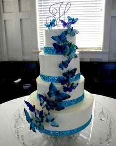 My butterfly adorned wedding cake :-) Cool Wedding Cakes, Beautiful Wedding Cakes, Wedding Cake Designs, Beautiful Cakes, Butterfly Wedding Theme, Butterfly Birthday Party, Birthday Cake Girls, Fancy Cakes, Cute Cakes