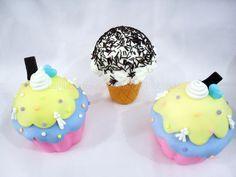 Cupcak e Sorvetes Fakes ideal para decoração de mesas