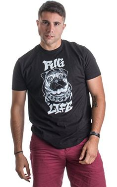 PUG LIFE | Funny Pug Owner, Dog Lover Thug Life Spoof Humor Unisex T-shirt-Adult,L ❤ Ann Arbor T-shirt Co.