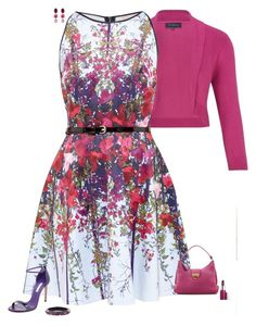 """Pink & purple"" by julietajj on Polyvore featuring Viyella, Ted Baker, Casadei, Salvatore Ferragamo, Goossens, Alexis Bittar and Clinique"