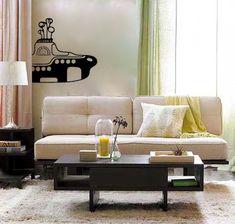 Yellow Submarine vinyl Wall DECAL- beatles 60s interior design, sticker art, room, home and business decor. $27.00, via Etsy.
