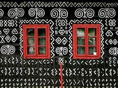 Painted house in Cicmany, Slovakia, slovak folk design Woman Painting, House Painting, Natural Architecture, Home Altar, Family Roots, Unusual Homes, Call Art, Earthship, Pattern Images