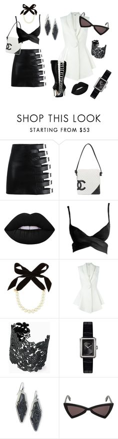 """Black and White Collection by Inbar Bareket"" by inbar-bareket on Polyvore featuring Chanel, Lime Crime, Tom Ford, Lulu Frost, Givenchy, Stella & Dot, Kendra Scott, Yves Saint Laurent and Dsquared2"
