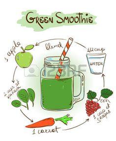 Dibujado a mano ilustraci�n boceto con batido verde. Incluyendo la receta y los ingredientes para el restaurante o cafeter�a. Concepto de estilo de vida saludable. photo