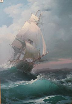 Art by Victor Luzik Ship Paintings, Seascape Paintings, Stürmische See, Sea Storm, Old Sailing Ships, Stormy Sea, Wooden Ship, Nautical Art, Sea Waves