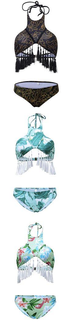 Sexy Halter Tassel Self-tie Random Floral Print Bikini Set