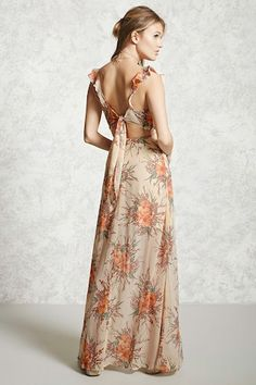Forever 21 Contemporary - A woven maxi dress featuring an allover floral print, ruffled shoulder straps, a V-neckline, an M-slit, a self-tying cutout back, and a hidden back zipper.
