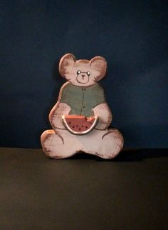 Vintage Wood Bear with watermelon slice, Home Decor-distressed-hand crafted