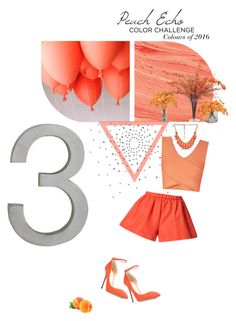 """""""Peach Echo"""" by devita33 ❤ liked on Polyvore featuring CB2, Ethan Allen, BCBGMAXAZRIA, John-Richard, RED Valentino and Jimmy Choo"""