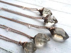 Raw quartz crystal necklace. Electroformed crystal necklace.  Rough quartz crystal pendant.  l