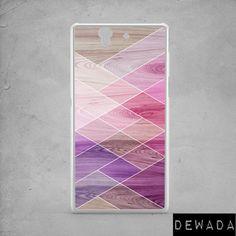 Sony Xperia M4 case geometric wood print Sony by DeWadaSTORE
