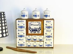 Vintage Antique Wooden Kitchen Spice Rack Cabinet, Dutch Porcelain Spice Cabinet Drawers with Jars Made in Holland Home Craft Decor, Diy Home Decor On A Budget, Home Crafts, Wooden Kitchen, Vintage Kitchen, Retro Vintage, Wooden Hinges, Kitchen Spice Racks, Homemade Spices