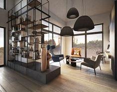 Salon styl Industrialny - zdjęcie od razoo-architekci