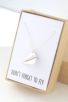 Silver Paper Airplane Necklace