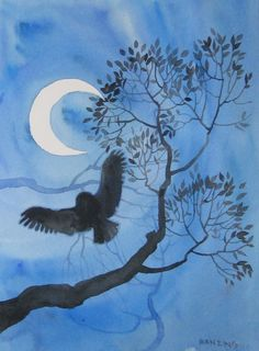 Owl - watercolor by Geoffrey Benzing