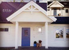 Kloppen- søyler blir ofte brukt i forbindelse med oppussing. Søylene kan kles rundt eksisterende stolpe, eller brukes bærende. Garage Doors, Outdoor Decor, Home Decor, Decoration Home, Room Decor, Interior Design, Home Interiors, Interior Decorating