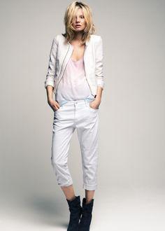 Pastel top white cropped blazer & pants  | I Like | Mango spring 2012