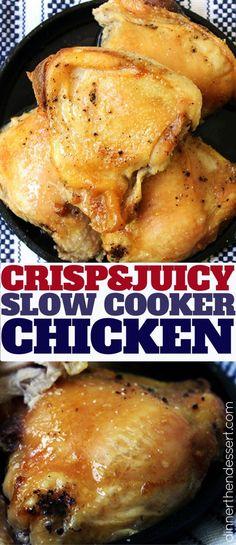 The method for CRISPY Slow Cooker Chicken! So EASY!
