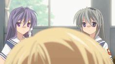 Tomoyo and Kyou punching Youhei Sunohara