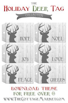 Free Printable Deer Gift Tags are on the agenda today at The Cottage Market! We have just begun our Free Printable Gift Tag Mania-so many more tags to come! Christmas Wrapping, Winter Christmas, Christmas Holidays, Christmas Crafts, Xmas, Holiday Gift Tags, Holiday Fun, Free Printable Gift Tags, Free Printables