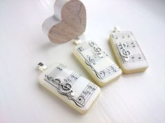 Silver Music Necklace. Domino Pendant. Sheet Music by OneDottyDuck