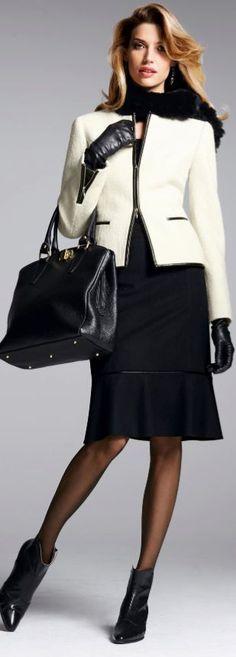 white peplum blazer black work dress black tights winter work wear professional winter wear https://www.pinterest.com/skirttheceiling/