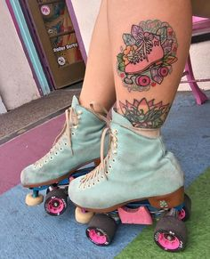 Moxi Skate Tattoo from Roller Disco, Roller Derby Tattoo, Rollers, Skate Tattoo, Roller Derby Girls, Derby Skates, Skater Girls, Roller Skating, Body Mods