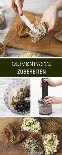 Rezept für herzhafte Olivenpaste aus grünen und schwarzen Oliven, Party-Rezept / fingerfood recipes: savory paste made of olives via DaWanda.com