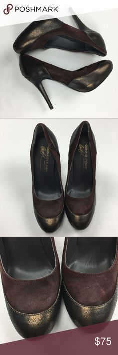 Donald J Pliner women's heels sz 6W Maroon and gold women's heels in good used condition with slight wear from a smoke free home size 6 Donald J. Pliner Shoes Heels