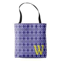 Blue and White Damask With Yellow Monogram Tote Bag - monogram gifts unique design style monogrammed diy cyo customize