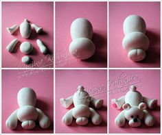 Polar bear tutorial. Easy breakdown of how to make a polar bear cupcake topper. Now anyone can do it!