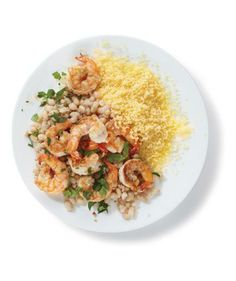 Spiced Shrimp With Beans recipe: Ground coriander and paprika provide the spice in this healthy 25-minute meal.