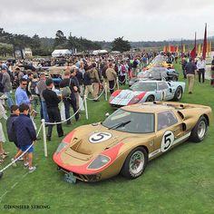 Ford GT40 Racing Cars at 2016 Pebble Beach Concours - Sixteen GT40 Ford racing cars – the first three are the trio from the famous 1-2-3 finish in 1966 at LeMans