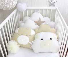 Items similar to Cot bumper, wide, cloud pillows and 2 piglets, white, beige and cream color on Etsy Owl Cushion, Cloud Cushion, Cloud Pillow, Animal Cushions, Small Cushions, Baby Cot Bumper, Cot Bedding Sets, Baby Safety, Pastel Blue