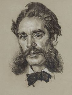 Fine Art - Work on Paper:Drawing, DEAN CORNWELL (American, 1892-1960). Portrait of a Man.Charcoal on paper