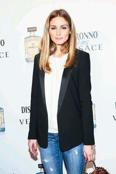 Olivia Palermo wears casual blazer and tee