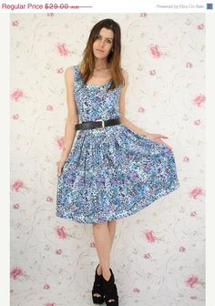VINTAGE SALE Vintage summer dress  aqua violet by renewvintage, $21.75