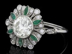 Delphi Antiques - Emerald And Diamond Ring ER039 | Perfect Ring