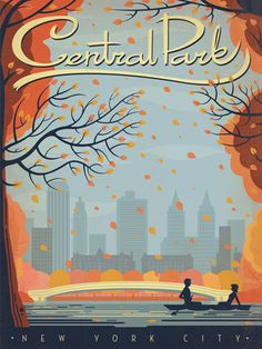 New York City Central Park Autumn& by Anderson Design Group Vintage Advertisement in Grey George Oliver Size: 60 cm H x 42 Poster Retro, Vintage Films, Vintage Travel Posters, City Poster, Poster S, Poster Prints, Art Prints, New York City Central Park, Nyc Fall