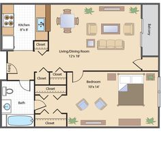 One Room One Bed One Bath Floor Plan with gargare One Bedroom