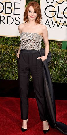 Not usually a fan of jumpsuits, but I love, Love, LOVE this. Emma Stone. Golden Globe Awards 2015.
