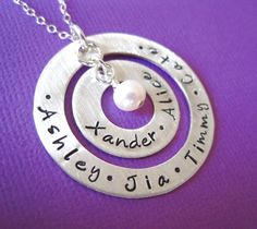 Hand Stamped Jewelry - Personalized  Sterling Silver Necklace - Two Washers with Freshwater Pearl. $65.00, via Etsy.