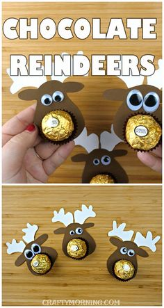 Make these cute chocolate reindeer treats for a Christmas gift! Using ferrero rocher candy, these are adorable for kids! Make these cute chocolate reindeer treats for a Christmas gift! Using ferrero rocher candy, these are adorable for kids! Homemade Christmas Gifts, Christmas Crafts For Kids, Christmas Projects, Christmas Treats, Simple Christmas, Holiday Crafts, Christmas Time, Christmas Cards, Christmas Chocolate