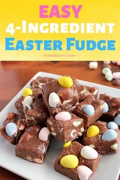 Rich chocolate fudge filled with colorful mini marshmallows and Cadbury Mini Eggs. An easy Easter fudge that only takes 5 minutes to make! Mini Egg Recipes, Easy Easter Recipes, Easy Easter Desserts, Easter Dishes, Mini Desserts, Fudge Recipes, Cadbury Recipes, Easter Cake Easy, Spring Desserts