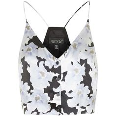 Silk Floral Print Cropped Cami by Topshop Reclaim ($55) ❤ liked on Polyvore featuring tops, shirts, crop tops, tank tops, pale blue, silk cami, cropped cami, silk camisole, topshop and cami crop top