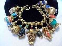 Scarce Vintage Napier Asian Oriental Art Glass Lantern Charm Bracelet Chunky   eBay