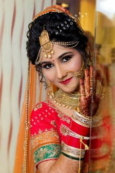So fascinating 💟💟💟 Bridal Makeup Looks, Indian Bridal Makeup, Indian Bridal Wear, Bridal Beauty, Bridal Looks, Indian Wedding Couple Photography, Indian Wedding Bride, Bridal Photography, Photography Ideas